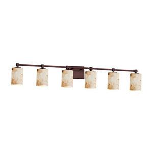 Alabaster Rocks! - Tetra Dark Bronze Six-Light LED Bath Bar with Cylinder Flat Rim Alabaster Rocks Shade
