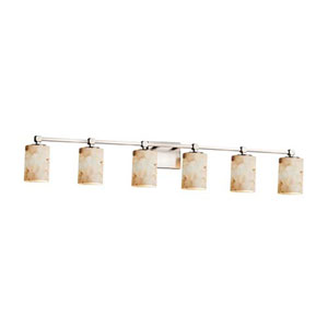Alabaster Rocks! - Tetra Brushed Nickel Six-Light LED Bath Bar with Cylinder Flat Rim Alabaster Rocks Shade