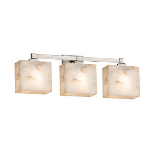 Alabaster Rocks Regency Brushed Nickel Three-Light LED Bath Vanity