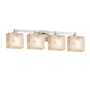 Alabaster Rocks Regency Brushed Nickel Four-Light Bath Vanity