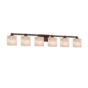 Alabaster Rocks! - Regency Dark Bronze Six-Light LED Bath Bar with Oval Alabaster Rocks Shade