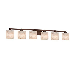 Alabaster Rocks! - Regency Dark Bronze Six-Light Bath Bar with Oval Alabaster Rocks Shade