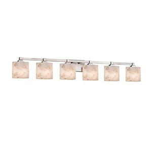 Alabaster Rocks! - Regency Brushed Nickel Six-Light LED Bath Bar with Oval Alabaster Rocks Shade