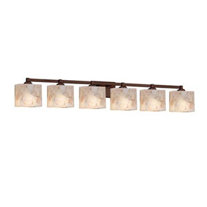 Alabaster Rocks! - Regency Matte Black Six-Light LED Bath Bar with Rectangle Alabaster Rocks Shade