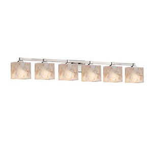 Alabaster Rocks! - Regency Brushed Nickel Six-Light LED Bath Bar with Rectangle Alabaster Rocks Shade