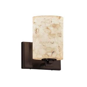 Alabaster Rocks! - Era Dark Bronze LED LED Wall Sconce with Cylinder Flat Rim Alabaster Rocks Shade