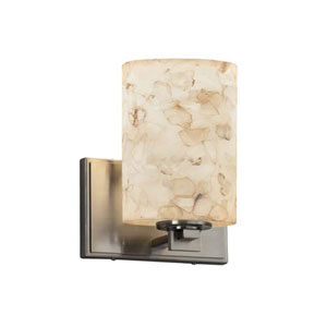 Alabaster Rocks! - Era Brushed Nickel LED LED Wall Sconce with Cylinder Flat Rim Alabaster Rocks Shade