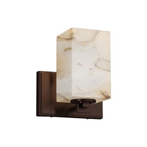 Alabaster Rocks! - Era Dark Bronze LED LED Wall Sconce with Square Flat Rim Alabaster Rocks Shade