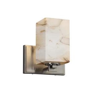 Alabaster Rocks! - Era Brushed Nickel LED LED Wall Sconce with Square Flat Rim Alabaster Rocks Shade
