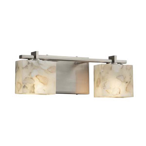 Alabaster Rocks! - Era Brushed Nickel Two-Light LED Bath Bar with Rectangle Alabaster Rocks Shade