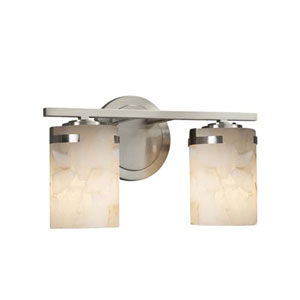 Alabaster Rocks! - Atlas Brushed Nickel Two-Light LED Bath Bar with Cylinder Flat Rim Alabaster Rocks Shade
