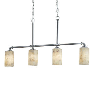 Alabaster Rocks! - Bronx Matte Black Five-Inch Four-Light Chandelier