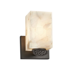 Alabaster Rocks! - Malleo Matte Black Six-Inch One-Light Wall Sconce