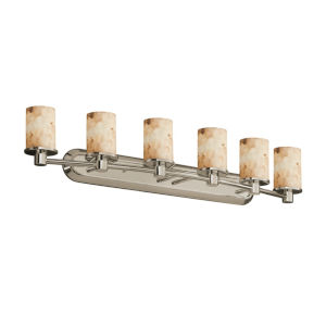 Alabaster Rocks Rondo Brushed Nickel Six-Light LED Bath Vanity
