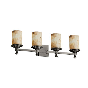 Alabaster Rocks Deco Brushed Nickel Four-Light LED Bath Vanity