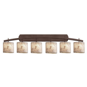 Alabaster Rocks Archway Dark Bronze Six-Light LED Bath Vanity with Oval Shade
