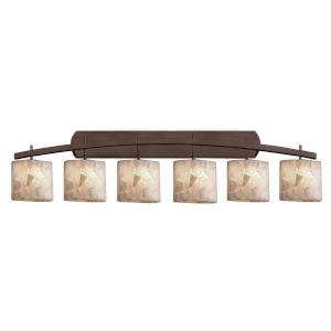 Alabaster Rocks Archway Dark Bronze Six-Light Bath Vanity with Oval Shade