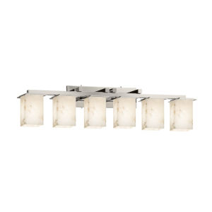 Alabaster Rocks Montana Brushed Nickel Six-Light LED Bath Vanity
