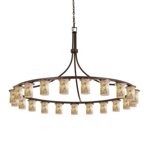 Alabaster Rocks Dark Bronze 21-Light LED Chandelier