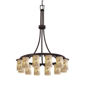 Alabaster Rocks Dark Bronze 12-Light LED Chandelier