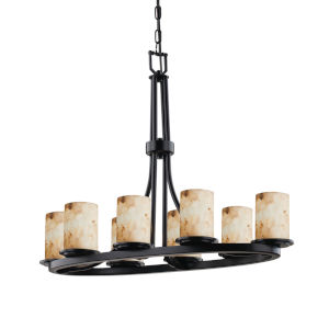 Alabaster Rocks Matte Black Eight-Light Chandelier
