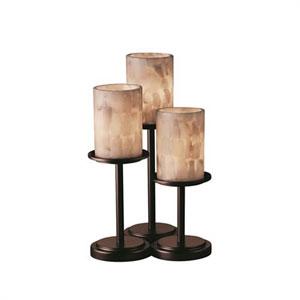 Alabaster Rocks! - Dakota Dark Bronze Three-Light Table Lamp with Cylinder Flat Rim Alabaster Rocks Shade