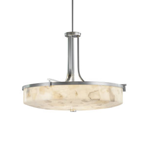 Alabaster Rocks Era Polished Chrome Six-Light Round Bowl Pendant