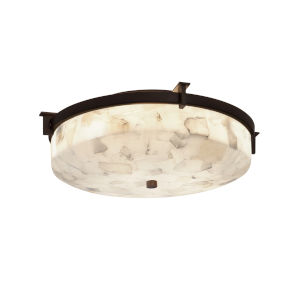 Alabaster Rocks Dark Bronze Two-Light Flush Mount