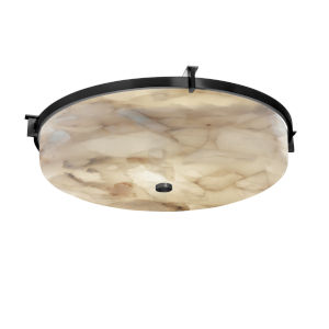 Alabaster Rocks Matte Black Three-Light Flush Mount