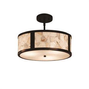 Alabaster Rocks! - Tribeca Dark Bronze Two-Light LED Drum Pendant with Alabaster Rocks Shade