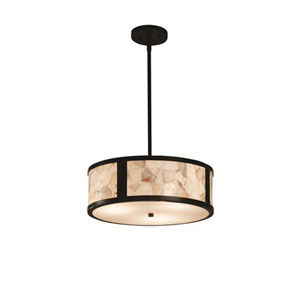 Alabaster Rocks! - Tribeca Matte Black Two-Light Drum Pendant with Alabaster Rocks Shade