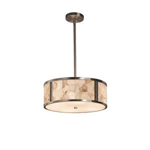 Alabaster Rocks! - Tribeca Brushed Nickel Two-Light Drum Pendant with Alabaster Rocks Shade