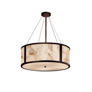 Alabaster Rocks! - Tribeca Dark Bronze Six-Light LED Drum Pendant with Alabaster Rocks Shade