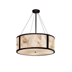 Alabaster Rocks! - Tribeca Matte Black Six-Light LED Drum Pendant with Alabaster Rocks Shade