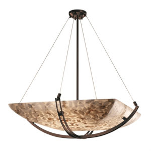 Alabaster Rocks Crossbar Dark Bronze Six-Light LED Square Bowl Pendant
