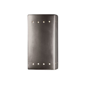 Ambiance Antique Silver GU24 LED Closed Top Rectangular Wall Sconce with Perf