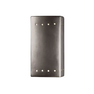 Ambiance Antique Silver Five-Inch Closed Top and Bottom LED Rectangle Outdoor Wall Sconce