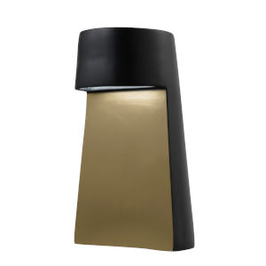 Beam Carbon Matte Black and Champagne Gold LED Ceramic Portable Table Lamp