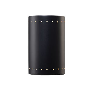 Ambiance Carbon Matte Black ADA LED Outdoor Large Ceramic Cylinder Wall Sconce with Perfs