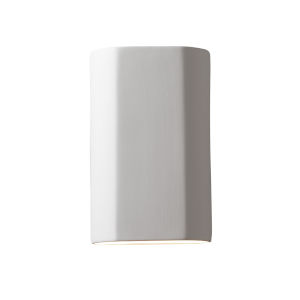 Ambiance Bisque ADA LED Outdoor Ceramic Flat Cylinder Wall Sconce