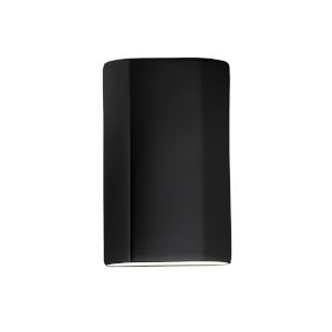 Ambiance Carbon Matte Black ADA LED Outdoor Ceramic Flat Cylinder Wall Sconce