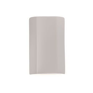 Ambiance Matte White ADA LED Outdoor Ceramic Flat Cylinder Wall Sconce