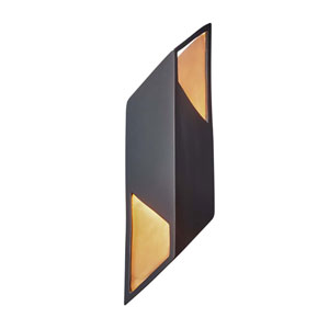 Ambiance Carbon Matte Black and Champagne Gold Six-Inch One-Light LED Wall Sconce