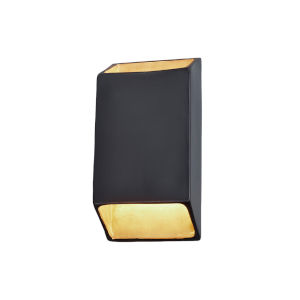 Ambiance Carbon Matte Black and Champagne Gold ADA LED Outdoor Ceramic Tapered Rectangle Wall Sconce