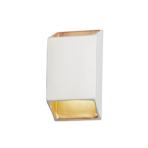 Ambiance Matte White and Champagne Gold ADA LED Outdoor Ceramic Tapered Rectangle Wall Sconce