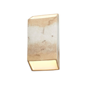 Ambiance Greco Travertine ADA LED Outdoor Ceramic Tapered Rectangle Wall Sconce