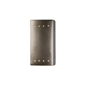 Ambiance Antique Silver ADA LED Outdoor Ceramic Rectangle Wall Sconce with Perfs