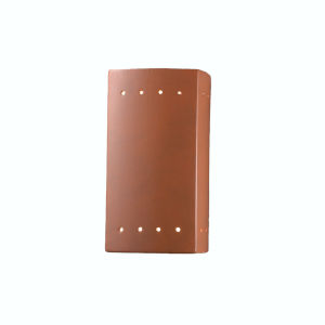 Ambiance Terra Cotta ADA LED Outdoor Ceramic Rectangle Wall Sconce with Perfs