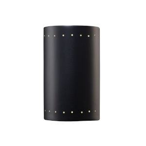 Ambiance Carbon Matte Black ADA LED Outdoor Ceramic Cylinder Wall Sconce with Perfs