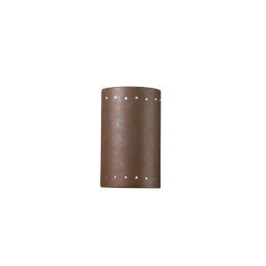 Ambiance Rust Patina ADA LED Outdoor Ceramic Cylinder Wall Sconce with Perfs